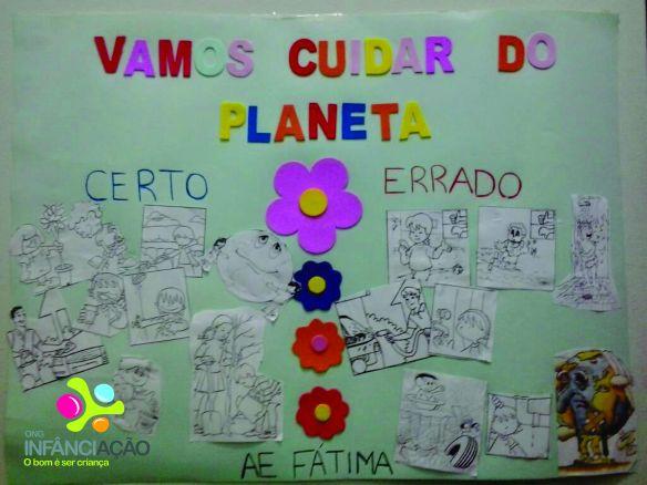 """Cartaz com o tema """"Vamos cuidar do planeta"""", montado por crianças e voluntários do AE Sede"""