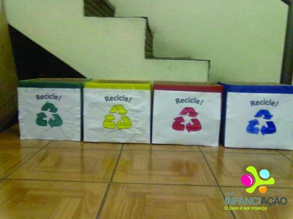 Crianças e voluntários do AE Sede confeccionaram lixeiros seletivos