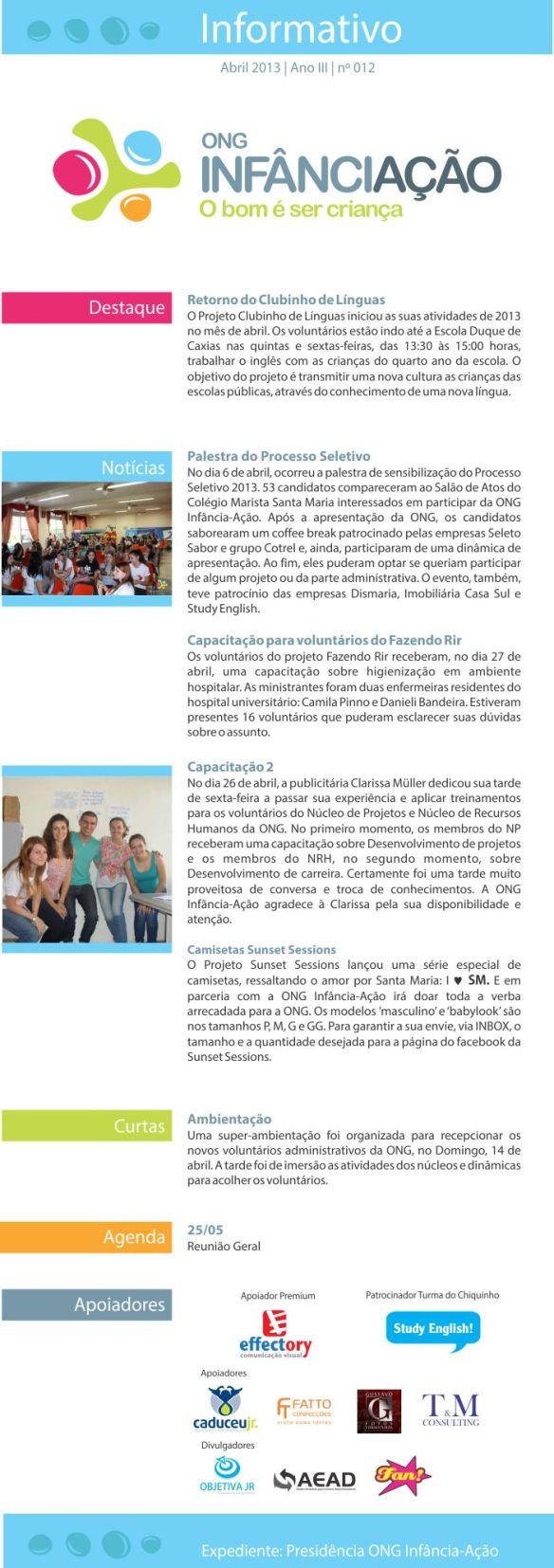 Boletim informativo - Abril de 2013